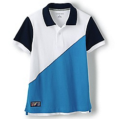 Lands' End - Boys' White colourblock pique polo