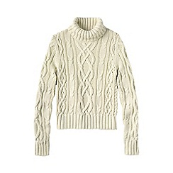 Lands' End - White women's aran drifter roll neck jumper