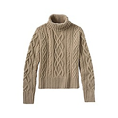 Lands' End - Beige women's cashmere aran roll neck jumper