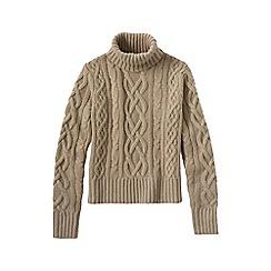 Lands' End - Beige women's cashmere aran roll neck jumper