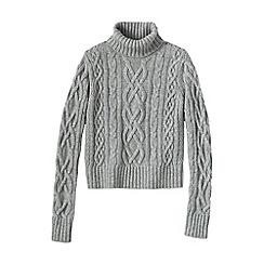 Lands' End - Grey women's cashmere aran roll neck jumper