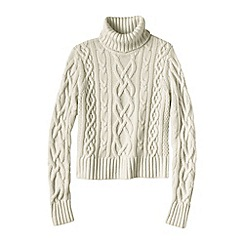 Lands' End - Cream women's cashmere aran roll neck jumper