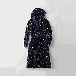 Lands' End - Blue girls' patterned hooded fleece dressing gown