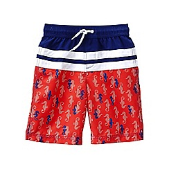 Lands' End - Red boys' patterned colourblock swim shorts