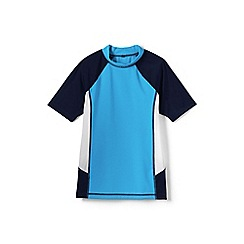 Lands' End - Blue boys' short sleeve colourblock rash guard