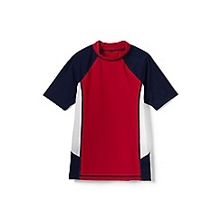Lands' End - Red boys' short sleeve colourblock rash guard