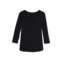 Lands' End - Black 3-quarter sleeve lace trim top