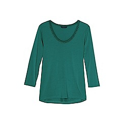 Lands' End - Blue petite 3-quarter sleeve lace trim top