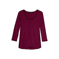 Lands' End - Red 3-quarter sleeve lace trim top