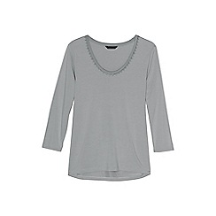 Lands' End - Grey petite 3-quarter sleeve lace trim top
