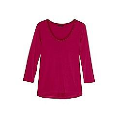 Lands' End - Pink plus 3-quarter sleeve lace trim top