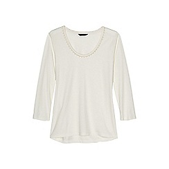 Lands' End - Cream plus 3-quarter sleeve lace trim top