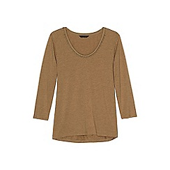 Lands' End - Beige plus 3-quarter sleeve lace trim top