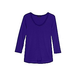 Lands' End - Purple 3-quarter sleeve lace trim top