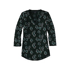 Lands' End - Green 3-quarter sleeve v-neck trim print tunic