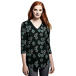 Lands' End - Green petite 3-quarter sleeve v-neck trim print tunic