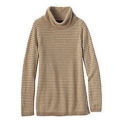 Lands' End - Brown women's cosy blend birdseye cowl neck sweater