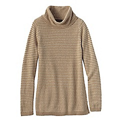 Lands' End - Brown petite cosy blend birdseye cowl neck sweater