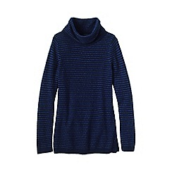 Lands' End - Blue women's cosy blend birdseye cowl neck sweater