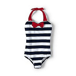 Lands' End - Blue girls' coastal spirit bow swimsuit