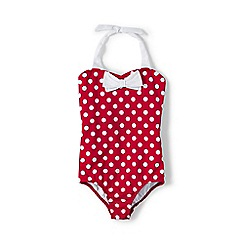 Lands' End - Red girls' coastal spirit bow swimsuit