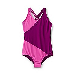 Lands' End - Purple girls' smart swim wrap one piece