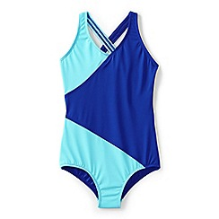 Lands' End - Blue girls' smart swim wrap one piece