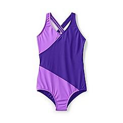 Lands' End - Purple girls' smart swim wrap one piece