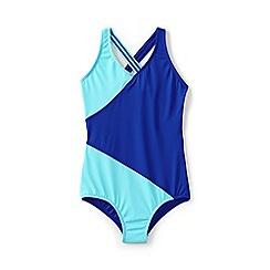 Lands' End - Blue girls' smart swim wrap one piece