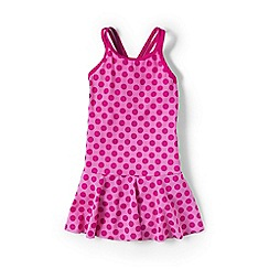 Lands' End - Pink girls' smart swim skirted one piece