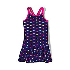 Lands' End - Purple girls' smart swim skirted one piece