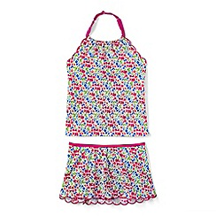 Lands' End - Girls' pink pretty polynesia scalloped edge skirted tankini