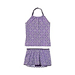 Lands' End - Purple girls' pretty polynesia scalloped edge skirted tankini