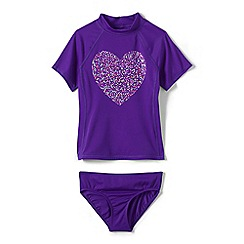 Lands' End - Girls Toddler Multicoloured rash guard top and ruffle bottoms