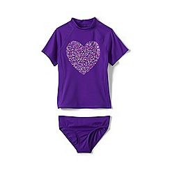 Lands' End - Multi girls' rash guard top and ruffle bottoms