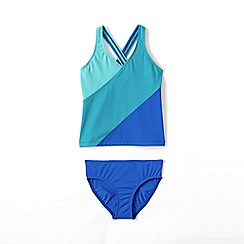 Lands' End - Blue girls' smart swim colourblock tankini