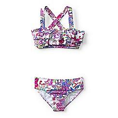 Lands' End - Blue girls' tropical paradise ruffle bikini set