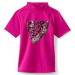 Lands' End - Girls' pink short sleeve graphic rash vest