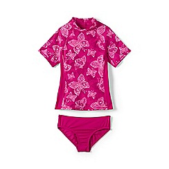 Lands' End - Pink girls' tropical paradise rash guard set