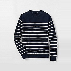 Lands' End - Blue men's breton stripe drifter cotton sweater