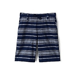 Lands' End - Boys Toddler Blue chambray stripe beach shorts