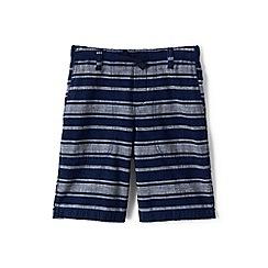 Lands' End - Boys Toddler Blue chambray stripe beach shorts