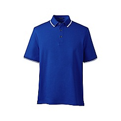 Lands' End - Blue textured collar supima; polo