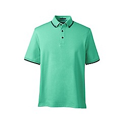 Lands' End - Green textured collar supima; polo