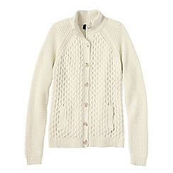 Lands' End - White women's textured drifter polo neck cardigan