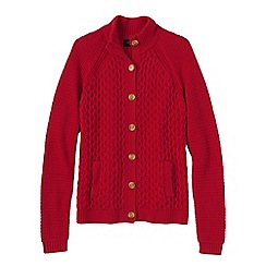Lands' End - Red textured drifter polo neck cardigan