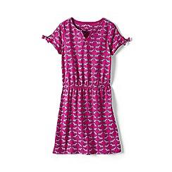 Lands' End - Pink girls' capped sleeve patterned dress