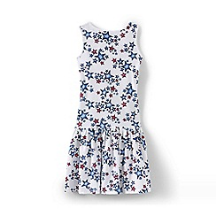 Lands' End - Blue girls' sleeveless drop waist dress