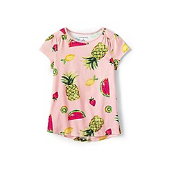 Lands' End - Girls' pink gathered shoulder t-shirt