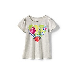 Lands' End - Girls' Grey scalloped edge graphic tee